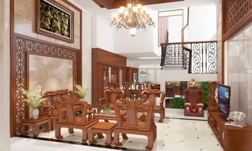 Bố trí bàn ghế gỗ hợp phong thủy
